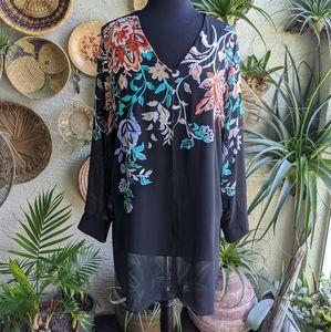 Chico's 2 L Embroidered Tunic Bohemian Sheer Top